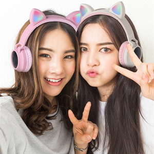 Image 2 - Cute Cat Bluetooth 5.0 Headset Wireless Hifi Music Stereo Bass Headphones LED Light Mobile Phones Girl Daughter Headset For PC