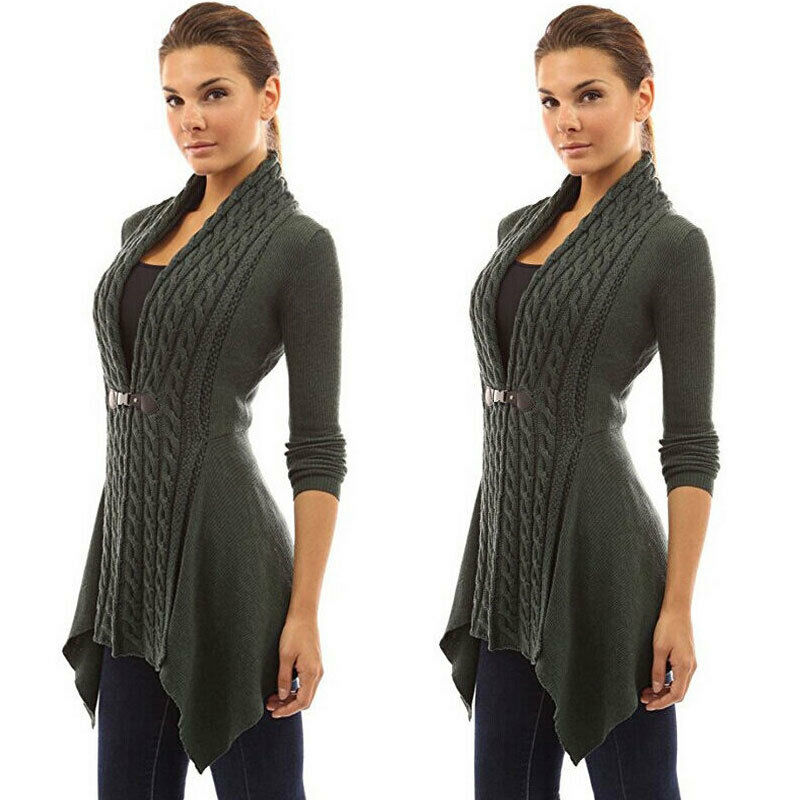 Women Knitted Long Sleeve Jumper Sweater Cardigan Wrap Cowl Neck Shawl Tops Coat
