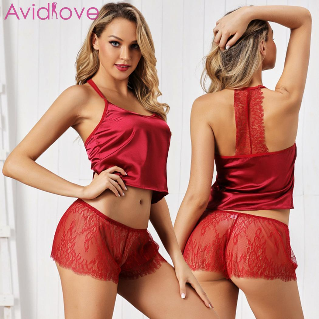 Women Spaghetti Strap Bra Lace Panties Underwear Sexy Sleeping Lingerie Set Sleepwear Red Solid