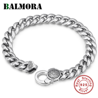 BALMORA Solid 925 Sterling Silver Six Word's Sutra Buddhistic Rotatable Bracelet For Women Men Gift Vintage Fine Jewelry