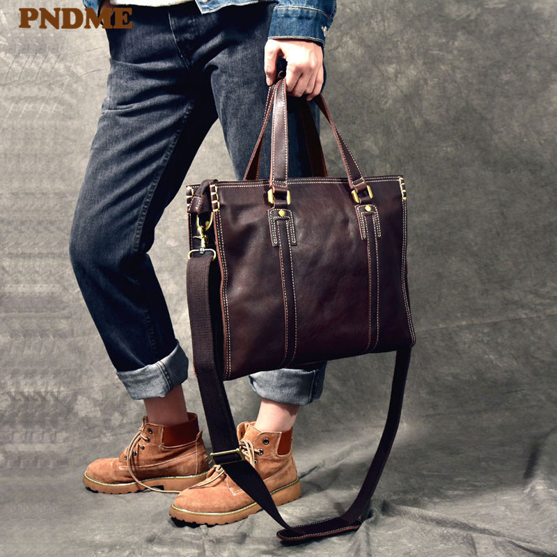 PNDME Fashion Vintage Genuine Leather Men's Briefcase Business Casual Cowhide 14 Inch Laptop Shoulder Messenger Bags Handbags