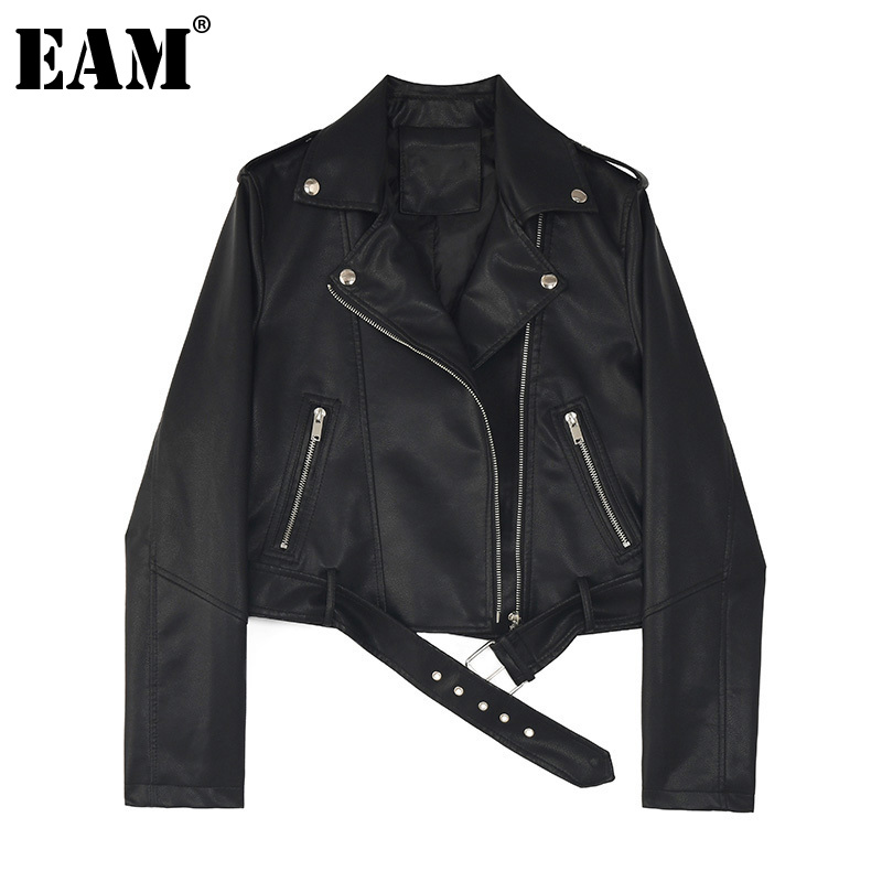 [EAM] Loose Fit Black Pu Leather Belt Short Jacket New Lapel Long Sleeve Women Coat Fashion Tide Spring Autumn 2020 1Z558 1