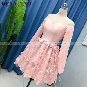 Image 3 - Elegant Long Sleeves Blush Pink 3D Floral Homecoming Dresses 2020 A line Knee Length Short Cocktail Dress Graduation Party Gowns