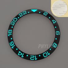HOT 38mm Black Super Luminous GMT High Quality Ceramic Bezel Insert Ring Watch Bezel Fit GMT Watch SKX007/009 Replace
