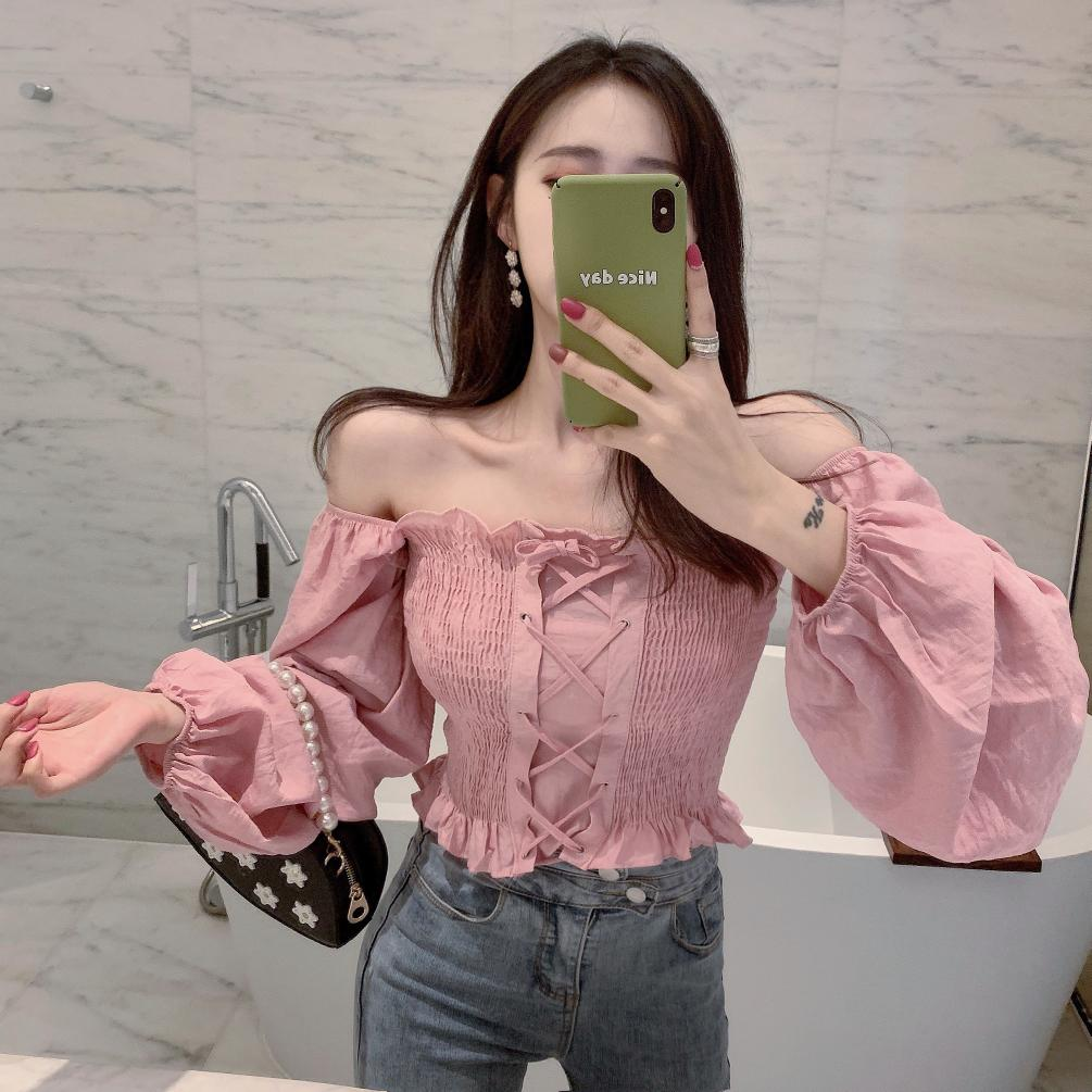 Girls Sweet Ruffles Slash Neck Full Lanter Sleeve Cropped Blouses Women's Solid Lace Up Ruffled Blouse Crop Tops For Female