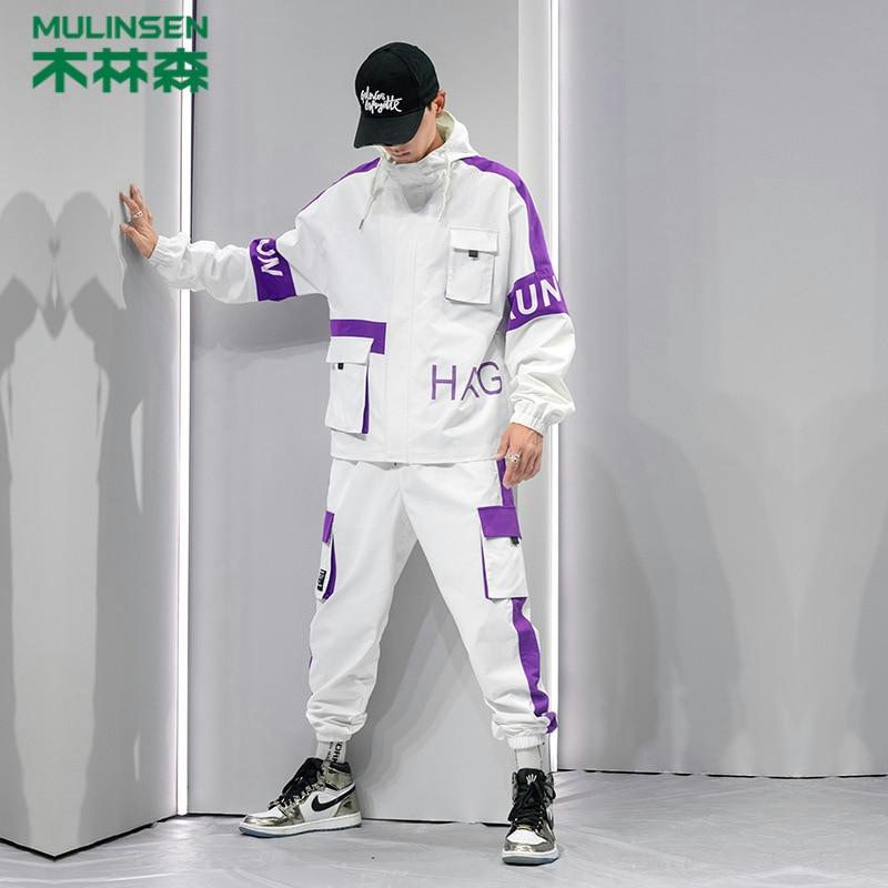 MULINSEN 2019 Men's Leisure Sports Suit Two-Piece Set Korean-style Fashion Hooded Jacket Cardigan MEN'S Coat