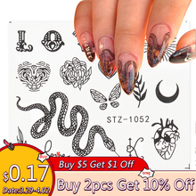 Snake Nail Water Sticker Decal Letter Leaf Sticker For Nails Black Butterfly Water Slider
