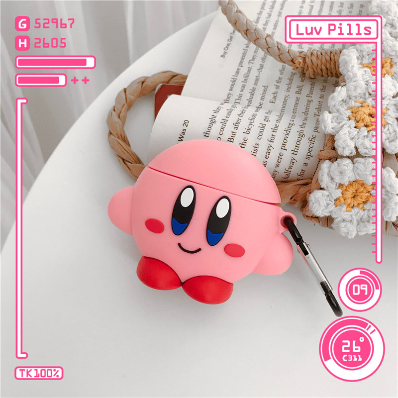 Image 5 - 3D Cute Cartoon Pink Ball Kirby Star Allies Headphone Cases For Apple Airpods 1/2 Silicone Protection Earphone Cover Accessories-in Earphone Accessories from Consumer Electronics