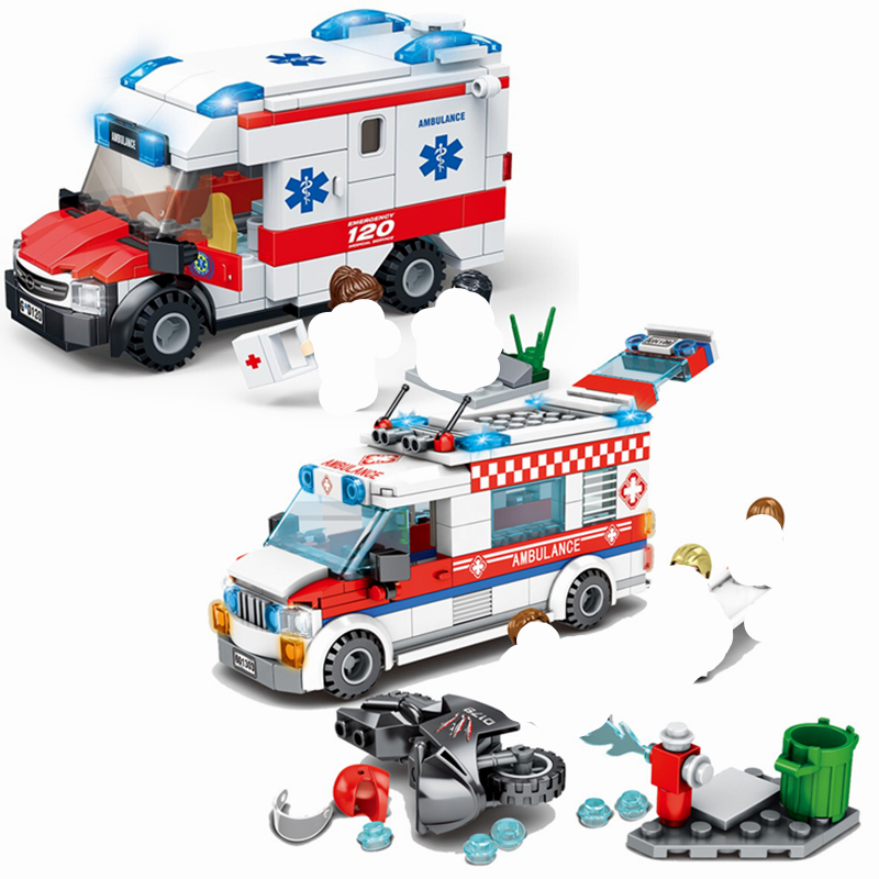 New City Fire Control Series Medical Ambulance Building Blocks Model Sets Bricks Classic For Children Toys Kids Gift