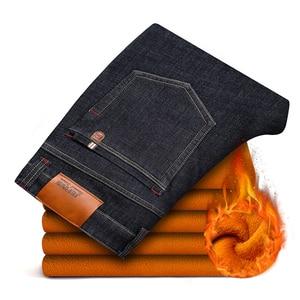 Image 2 - 2020 zima nowy marka męska ocieplane dżinsy dorywczo rozciągliwe dopasowanie spodnie dżinsowe męskie duże rozmiary męskie spodnie 40 42 44 46 czarny niebieski