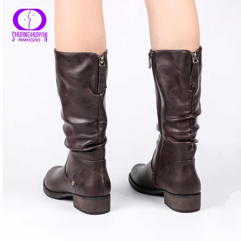 AIMEIGAO yeni sonbahar kış orta buzağı kadınlar Boots Flats topuklu sıcak peluş PU deri çizmeler yüksek kaliteli diz yüksek çizmeler