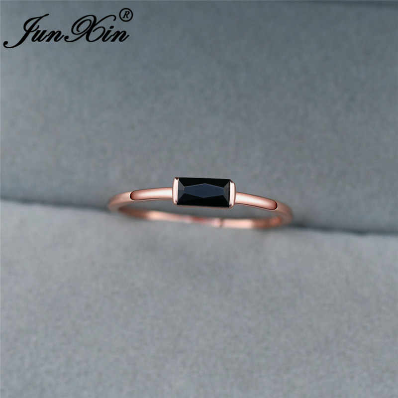 Boho หญิงคริสตัลซ้อนบางแหวน 925 เงิน Rose Gold Minimalist เจ้าสาวงานแต่งงานแหวนเครื่องประดับเพทายสีแดง