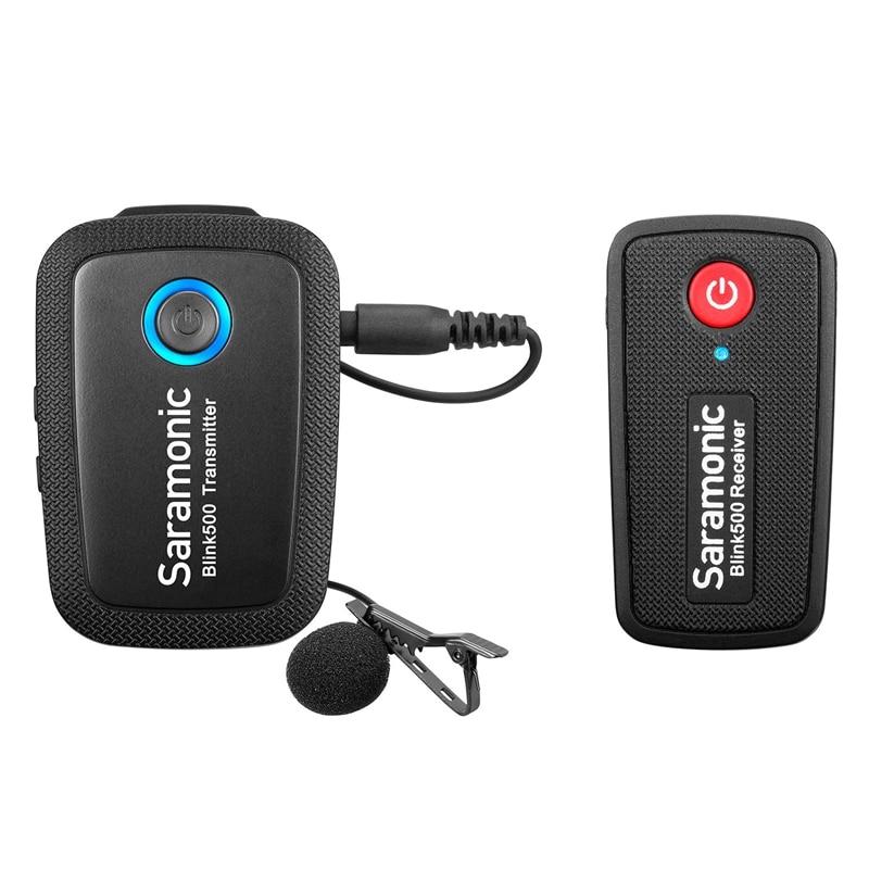 Abkt-saramonic clignotant 500-B1 2.4GHz 2 canaux professionnel sans fil Lavalier Microphone système émetteur récepteur pour SLR Camer