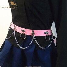 SISHION Punk hip-hop Imitation Leather Punk Belt VD1360 Black Red White Pink Wom