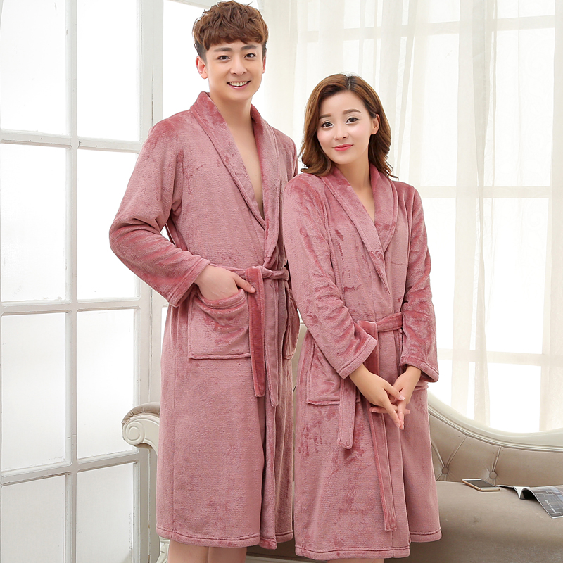 Men Women Luxury Grey Silk Flannel Long Bath Robe Mens Kimono Bathrobe Male Dressing Gown Badjas Lovers Sleepwear Peignoir Homme