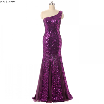 Purple Evening Dresses One Shoulder Long Mermaid Evening Prom Gowns Sequined Formal Dress Party Gown For Women Custom Size Color