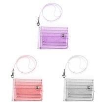 Wallet Card-Holder Glitter Clear Transparent Cute Lanyard Purse Bifold Credit Women Casual