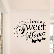 Home Sweet Home Butterfly Wall Stickers for Sweet Living Room Wallpaper Art Decoration Vinyl Home Decals Bedroom Poster LW355 все цены