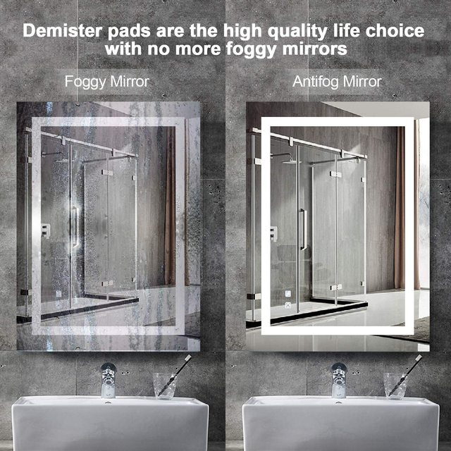 LED Vanity Bathroom Mirror 36x28Inch Anti Fog Dimmable Touch Button Night Light IP44 Waterproof Vertical&Horizontal Wall Mounted 5