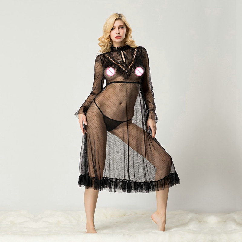 JSY Transparent Mesh Sexy Lingerie Long Sleeve Chocker Sleepwear Dress <font><b>Adult</b></font> Women's <font><b>Sex</b></font> <font><b>Clothes</b></font> Porno Baby Doll Nightgown image