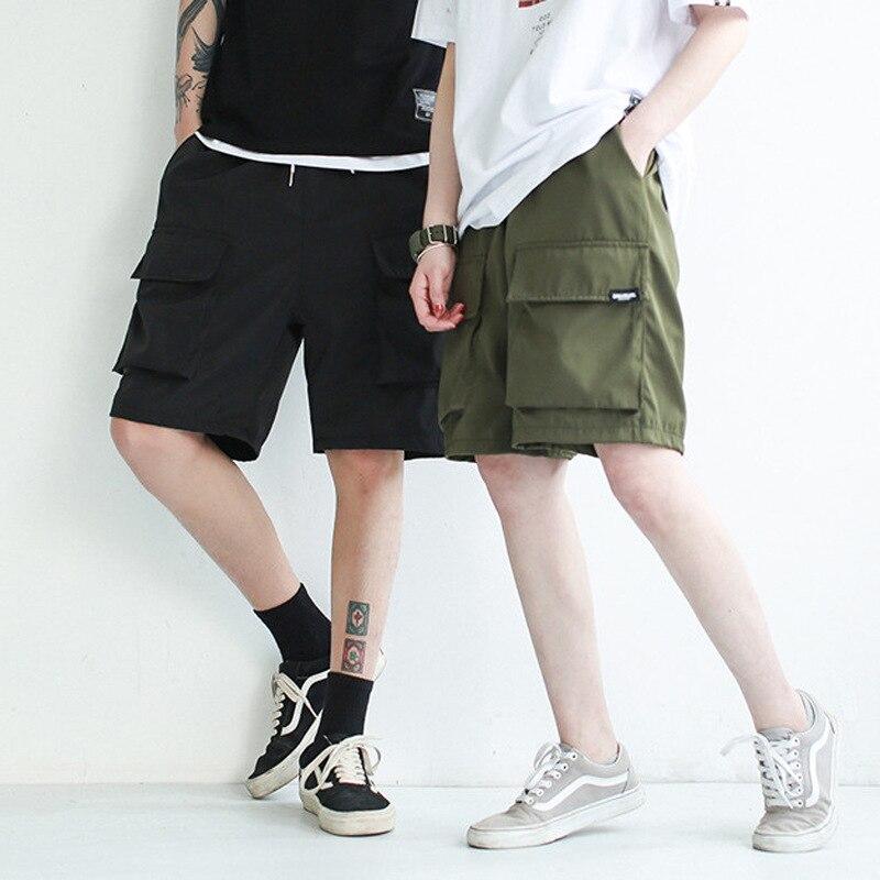 Fashion 2020 Summer Thin Elastic Waist Cargo Streetwear Travel Multi-pocket Overalls Men's Japanese Trendy Unisex Casual Shorts