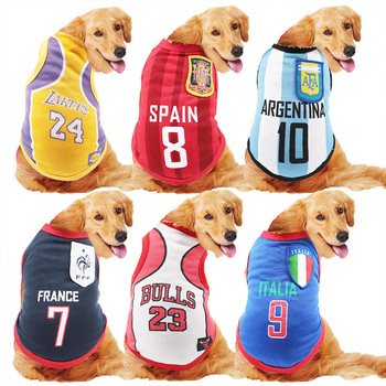 Summer pet Vest Ventilate Dog Clothes Basketball Football National Team Shirt Pets jacket For Puppy Medium large Dogs boy girl image