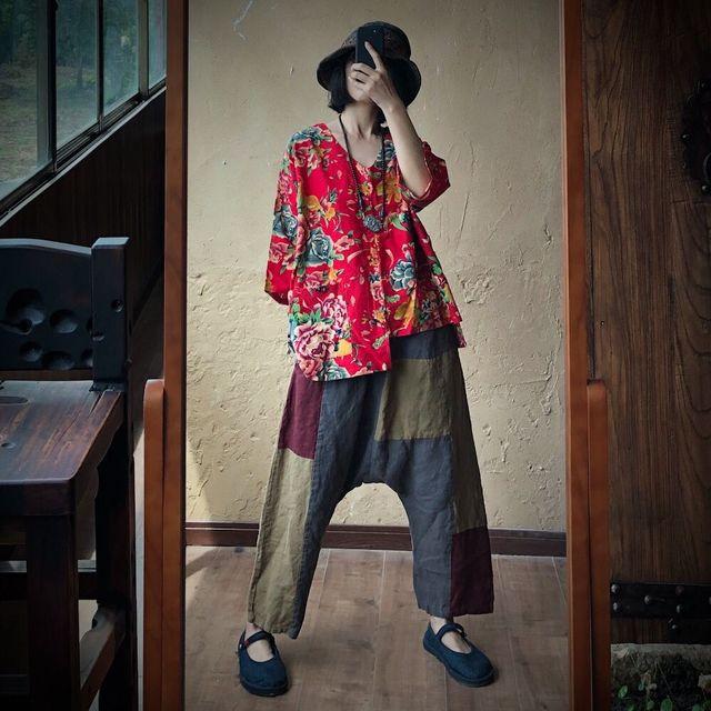 Women Loose Printed V Neck Irregular Length Blouse Tops Ladies Vintage Print Cotton Linen Tops Shirt Female 2020 Blouses 5