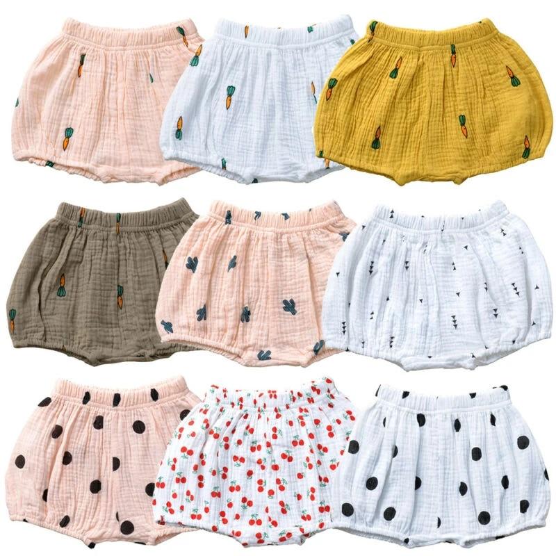 Linen bloomers Baby suspender shorts