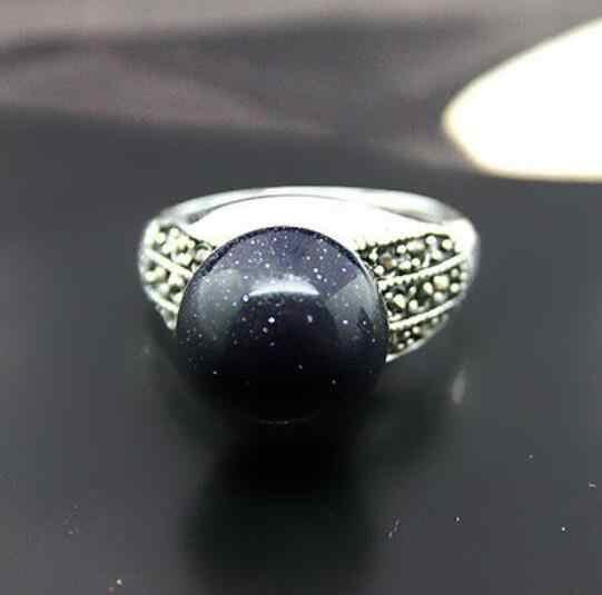 เครื่องประดับไข่มุกแหวนผู้ชาย/ผู้หญิง 8MM หินทรายลูกปัด MARCASITE & 925 เงินสเตอร์ลิงแหวนขนาด 7 /8/9/10 จัดส่งฟรี