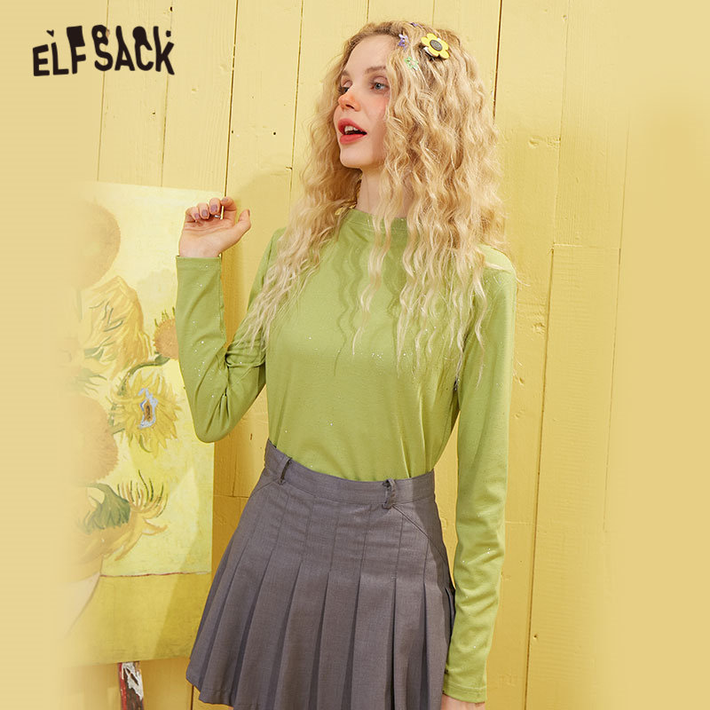 ELFSACK Multicolor Solid Minimalist Style Bright Casual T Shirt Women Top 2020 Spring Pure Long Sleeve Ladies Daily Basic Tee