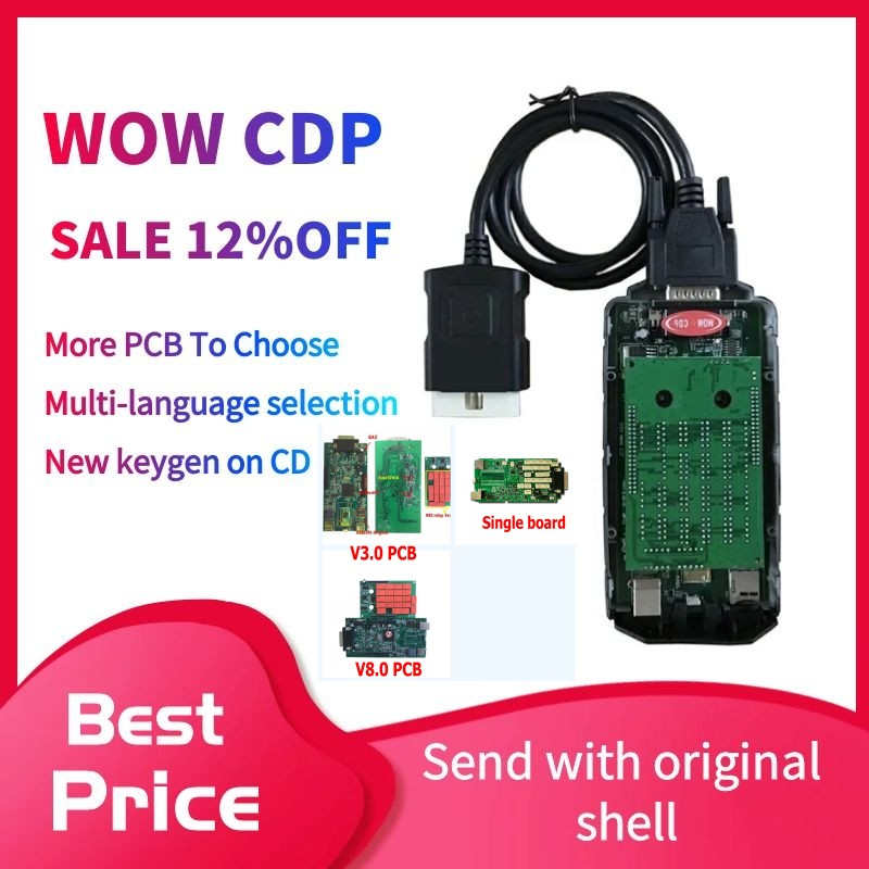 2020 Latest WOW CDP NEW VCI Diagnostic Tool Bluetooth 2016.R0 Keygen VD DS150E CDP For Delphis Obd2 Car Scanner With Shell