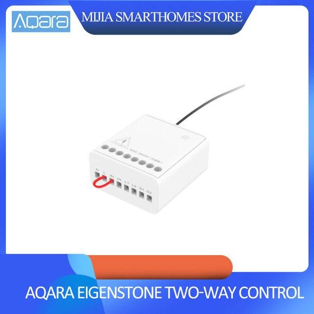 Xiaomi Mijia Aqara Eigenstone Zwei weg control modul Drahtlose Relais Controller 2 kanäle Arbeit Für Mijia Home Kit
