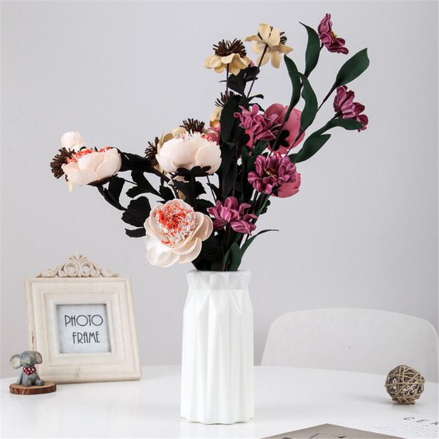 Plastic Flower Vase Nordic Style Decoration Home Vase Flower Pot Decoration Nordic Style Flower Basket White Green Pink 5