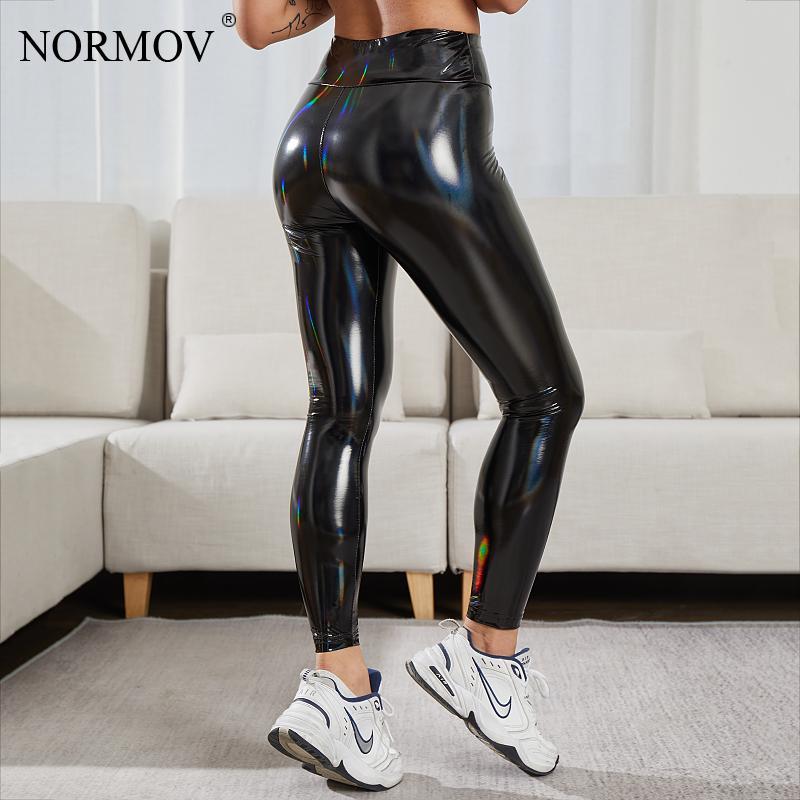 NORMOV-mallas Push Up sin costuras de piel sintética para mujer, Leggings de compresión, de cintura alta, brillantes, combina con todo
