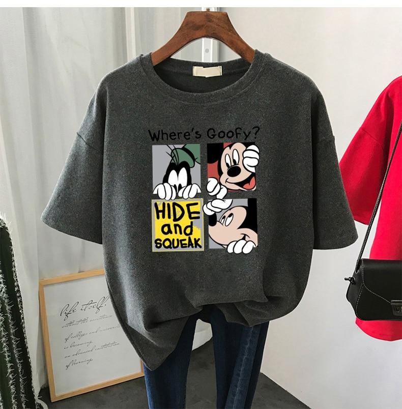 Summer Women Short Sleeve T-shirt Female Harajuku Loose Bottoming Shirt Tide O Neck Creative Cartoon Print Tees Large Size Tops