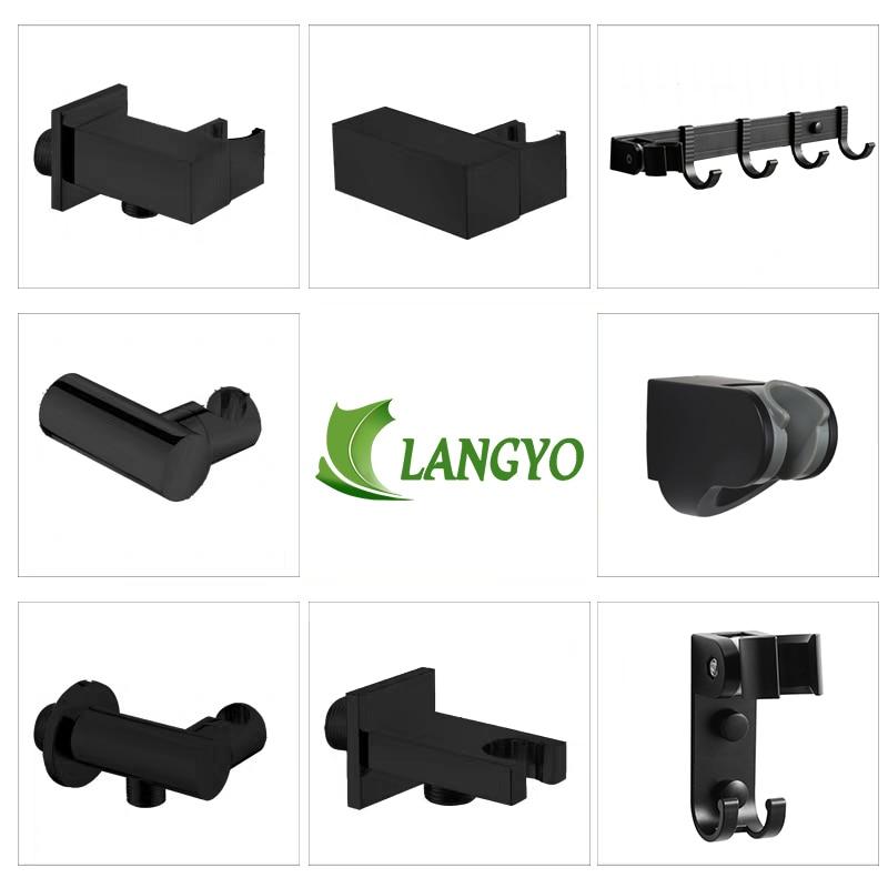 Matt Black Handheld Shower Spray Head Holder Bracket Wall Mount Hand Sprayer Solid Brass Accessories Connector Elbow Unit Spout