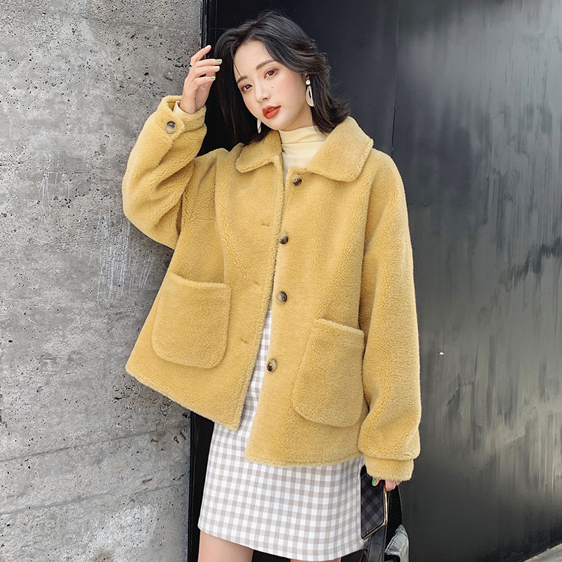 Fur Real Coat Female Sheep Shearling Fur Korean Jackets 2020 Autumn Winter Jacket Women Real Wool Coats Outwear MY3563 S