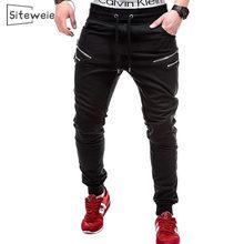 Siteweie moda masculina sweatpants hip hop streetwear corredores ao ar livre runing calças esportivas casual sólido zip up longo sportpant l408
