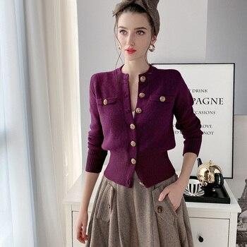 Dabuwawa Elegant Knit Cardigan Women Casual Single Breasted Long Sleeve Vintage Solid Sweater Office Lady Female DT1AKJ004 dabuwawa light grey long sleeve beading casual jacket