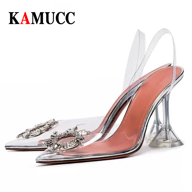 Transparent High Heels Sexy Pointed Toe Crystal Shoes Wedding Party Brand Fashion Shoes for Lady Thin Heels Luxury Women Pumps