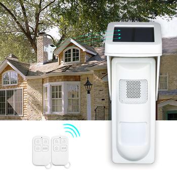 Zasilany energią słoneczną podwójny czujnik ruchu na podczerwień detektor syreny alarmu stroboskopowego System wodoodporna bezprzewodowa czujka PIR czujnik inteligentnego domu tanie i dobre opinie KKMOON Wireless PIR Sensor