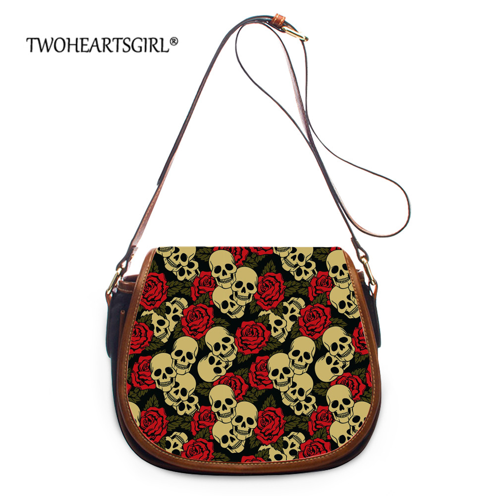 Twoheartsgirl Floral Skull Print Crossbody Bag Women Cool Punk Style Small Messenger Bag StylishLeather Hasp Shoulder Bags