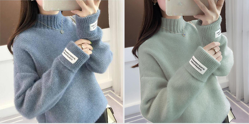 SURMIITRO Knitted Warm Sweater Female For Autumn winter 19 Ladies Long Sleeve Women Turtleneck Tricot Pullover Blue Jumper 3