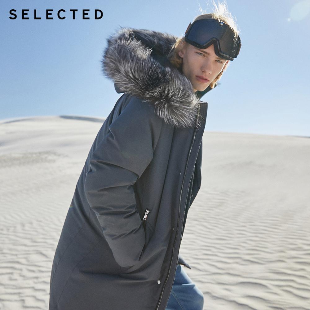 SELECTED Men's Mid-length Winter Parka Outwear Fox Fur Duck Down Jacket New Long Coat S | 419412513