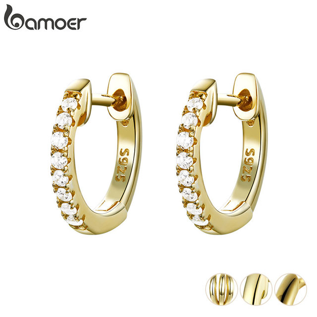BAMOER Genuine 925 Sterling Silver Round Circle Hoop Earrings for Women Gold Color Earrings Sterling Silver Jewelry Gift SCE498 1