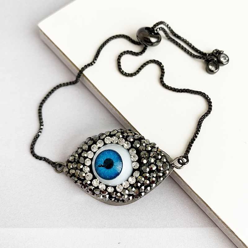 Gold Evil Eye สร้อยข้อมือสำหรับสตรี 2019 CZ สายรุ้งตุรกีสีดำทองแดง Inlay Zircon คริสตัลสีฟ้าสร้อยข้อมือ Evil Eye เครื่องประดับ