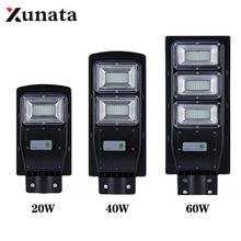 лучшая цена LED Solar Street Light 20W 40W 60W Motion Sensor Solar Garden Light Outdoor Waterproof Spotlight Radar Induction Wall Lamp