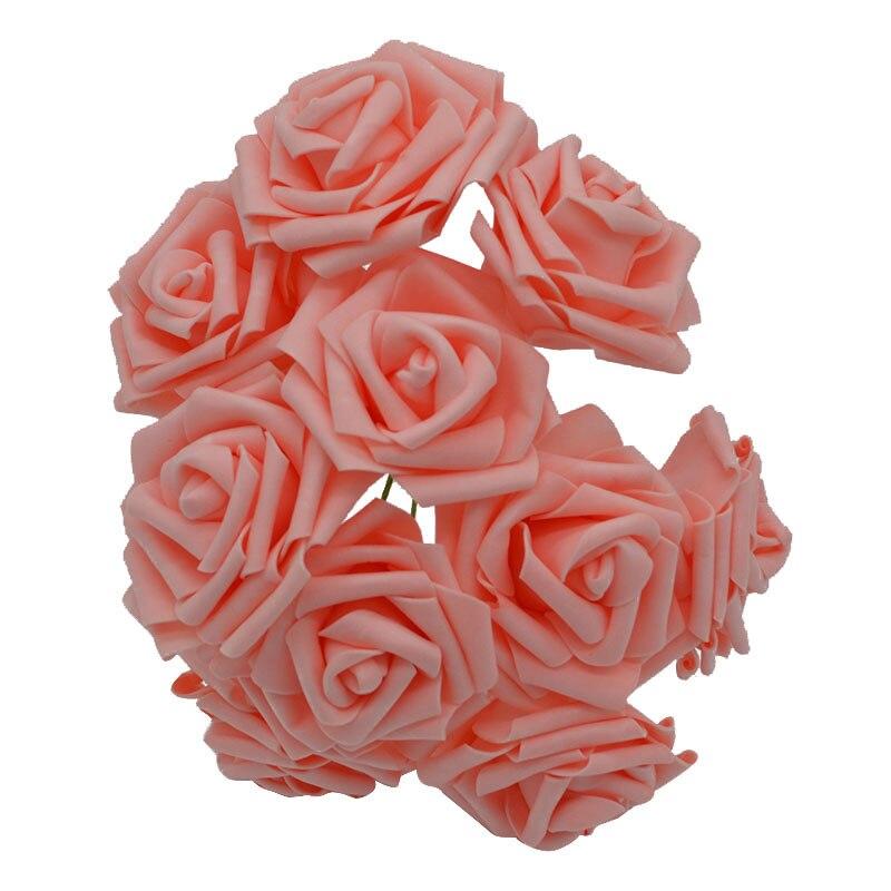 10 шт. 8 см большие ПЭ пенные цветы искусственные розы цветы Свадебные букеты Свадебные украшения для вечеринки DIY Скрапбукинг Ремесло поддельные цветы - Цвет: peach  no leaf