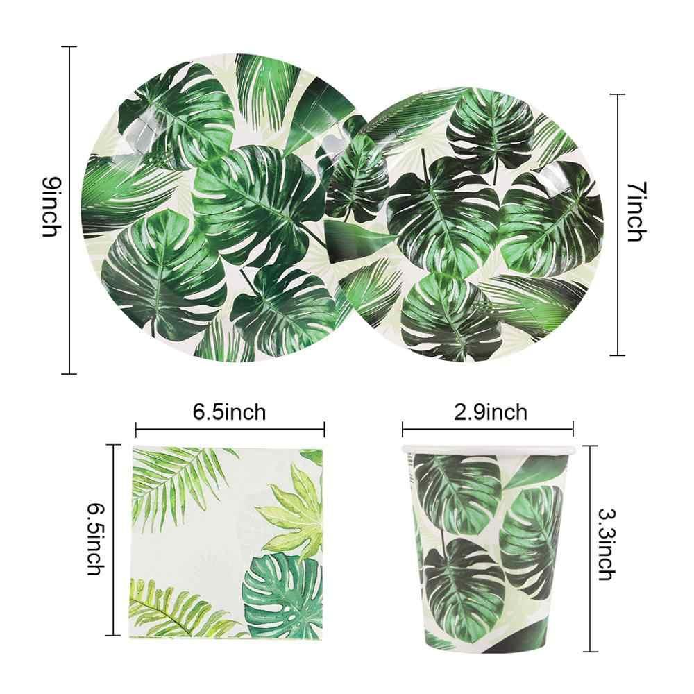 Hawaïen feuille de tortue été vaisselle jetable tropique vert assiettes en papier tasses Hawaii fournitures mariage anniversaire Safari Jungle