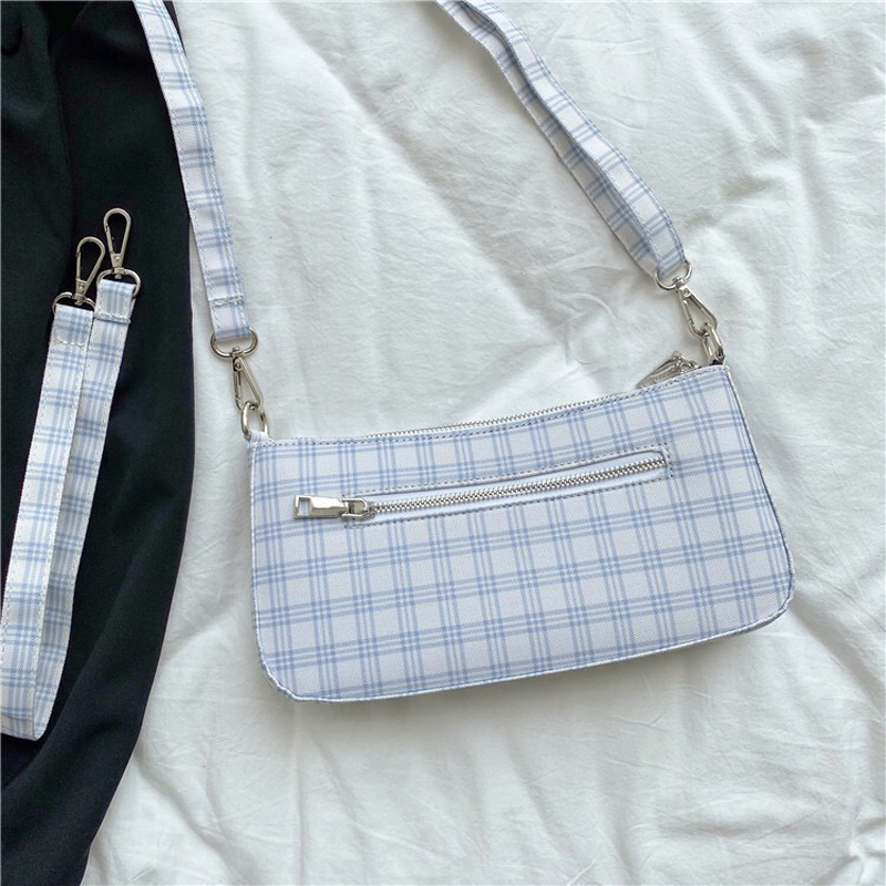 2020 New Women Baguette Bag Check Ladies Small HandBag Canvas Cotton Female Luxury Handbag Brand Designer Crossbody Shoulder Bag